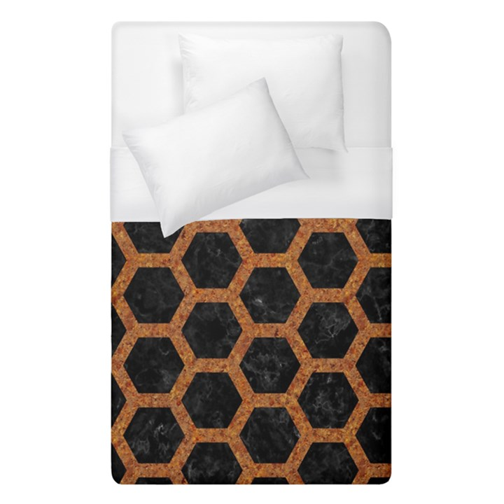 HEXAGON2 BLACK MARBLE & RUSTED METAL (R) Duvet Cover (Single Size)