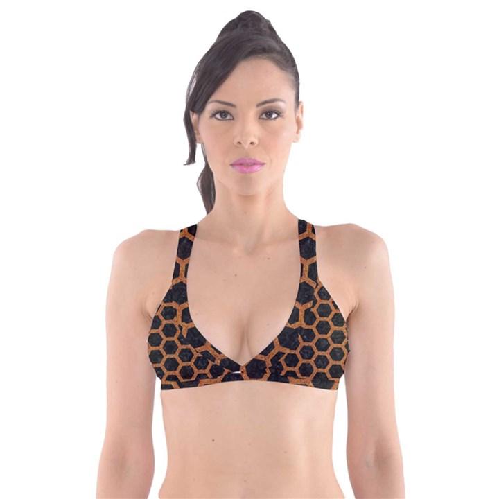HEXAGON2 BLACK MARBLE & RUSTED METAL (R) Plunge Bikini Top