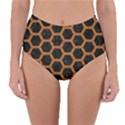 HEXAGON2 BLACK MARBLE & RUSTED METAL (R) Reversible High-Waist Bikini Bottoms View1