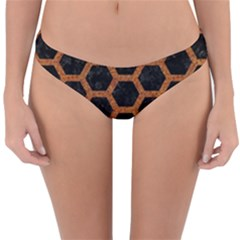 Hexagon2 Black Marble & Rusted Metal (r) Reversible Hipster Bikini Bottoms