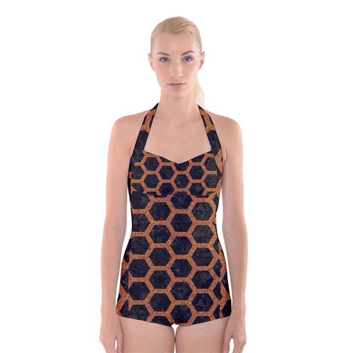 HEXAGON2 BLACK MARBLE & RUSTED METAL (R) Boyleg Halter Swimsuit