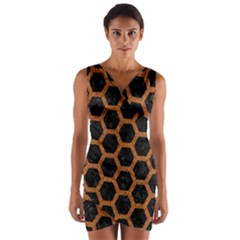 Hexagon2 Black Marble & Rusted Metal (r) Wrap Front Bodycon Dress