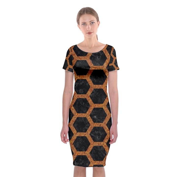HEXAGON2 BLACK MARBLE & RUSTED METAL (R) Classic Short Sleeve Midi Dress