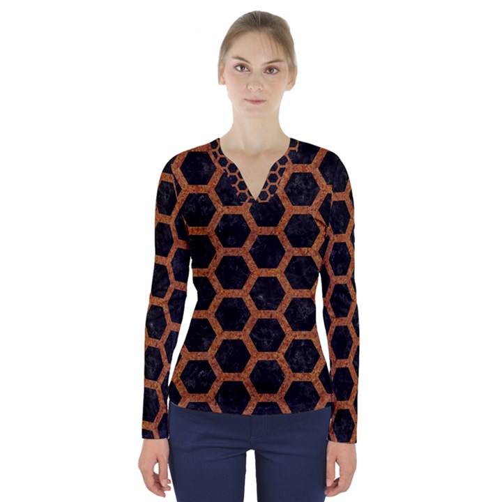 HEXAGON2 BLACK MARBLE & RUSTED METAL (R) V-Neck Long Sleeve Top
