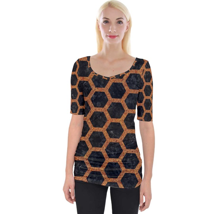 HEXAGON2 BLACK MARBLE & RUSTED METAL (R) Wide Neckline Tee