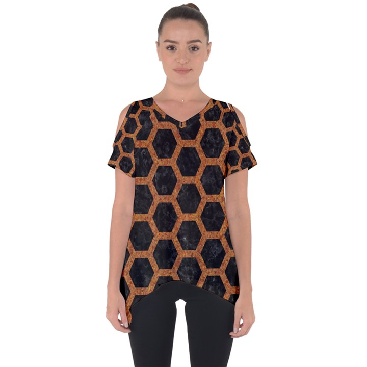HEXAGON2 BLACK MARBLE & RUSTED METAL (R) Cut Out Side Drop Tee