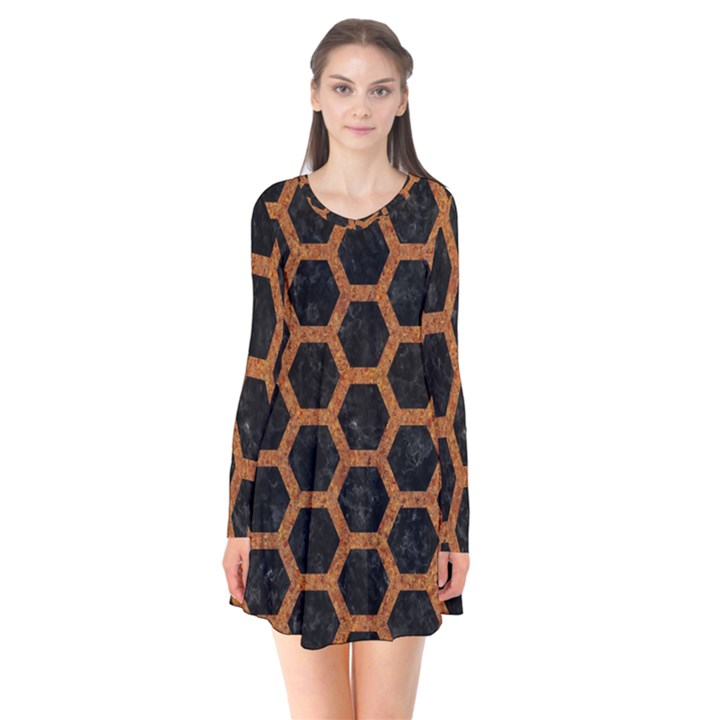 HEXAGON2 BLACK MARBLE & RUSTED METAL (R) Flare Dress