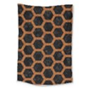 HEXAGON2 BLACK MARBLE & RUSTED METAL (R) Large Tapestry View1