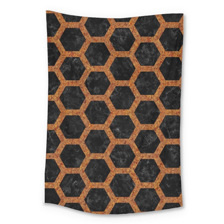 HEXAGON2 BLACK MARBLE & RUSTED METAL (R) Large Tapestry