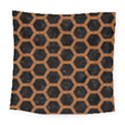 HEXAGON2 BLACK MARBLE & RUSTED METAL (R) Square Tapestry (Large) View1