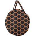 HEXAGON2 BLACK MARBLE & RUSTED METAL (R) Giant Round Zipper Tote View1