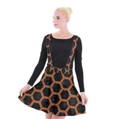 Hexagon2 Black Marble & Rusted Metal (r) Suspender Skater Skirt