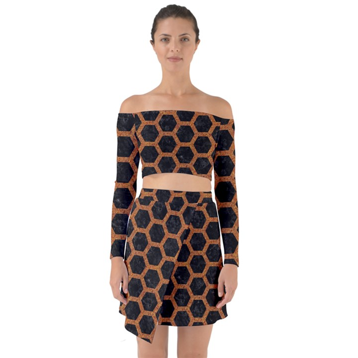 HEXAGON2 BLACK MARBLE & RUSTED METAL (R) Off Shoulder Top with Skirt Set