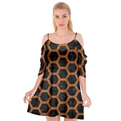 Hexagon2 Black Marble & Rusted Metal (r) Cutout Spaghetti Strap Chiffon Dress