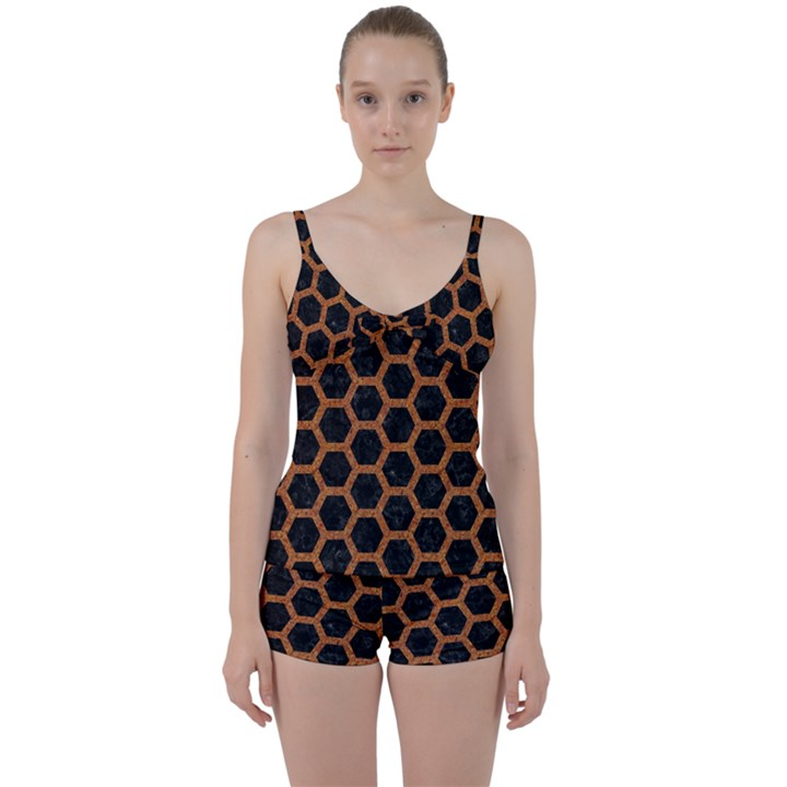 HEXAGON2 BLACK MARBLE & RUSTED METAL (R) Tie Front Two Piece Tankini
