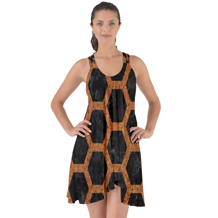 HEXAGON2 BLACK MARBLE & RUSTED METAL (R) Show Some Back Chiffon Dress