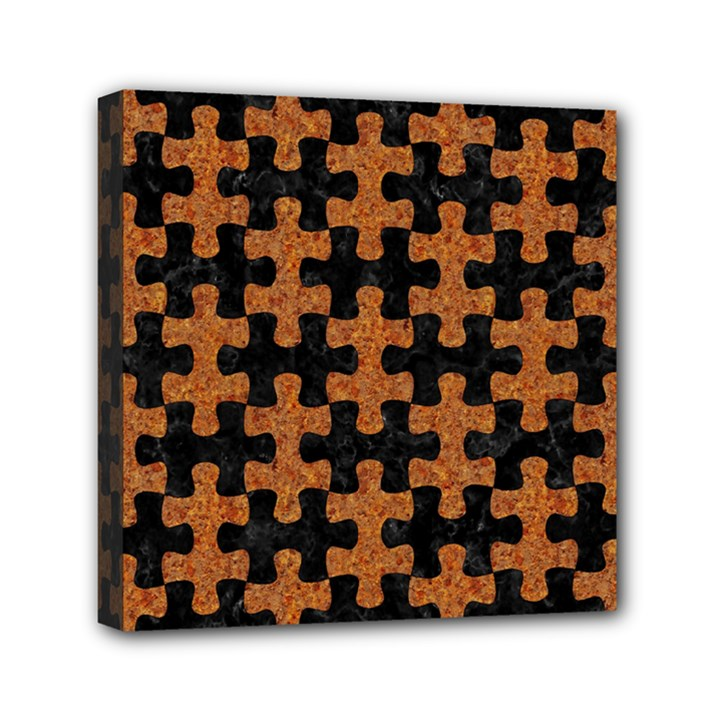 PUZZLE1 BLACK MARBLE & RUSTED METAL Mini Canvas 6  x 6