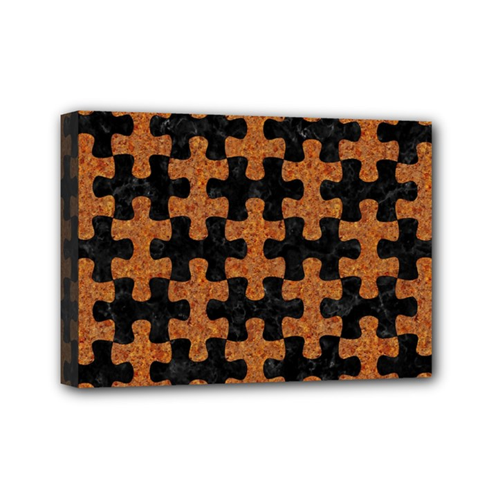 PUZZLE1 BLACK MARBLE & RUSTED METAL Mini Canvas 7  x 5