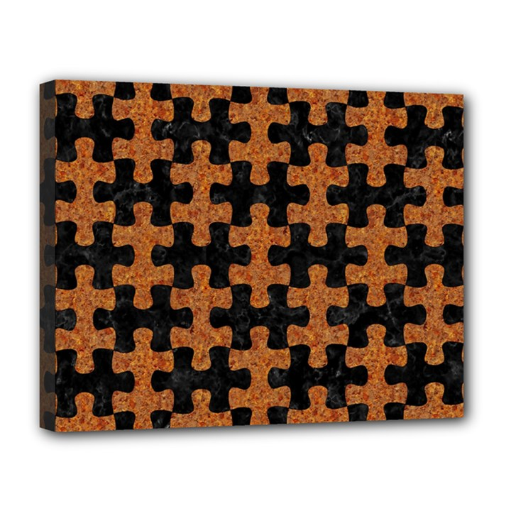 PUZZLE1 BLACK MARBLE & RUSTED METAL Canvas 14  x 11