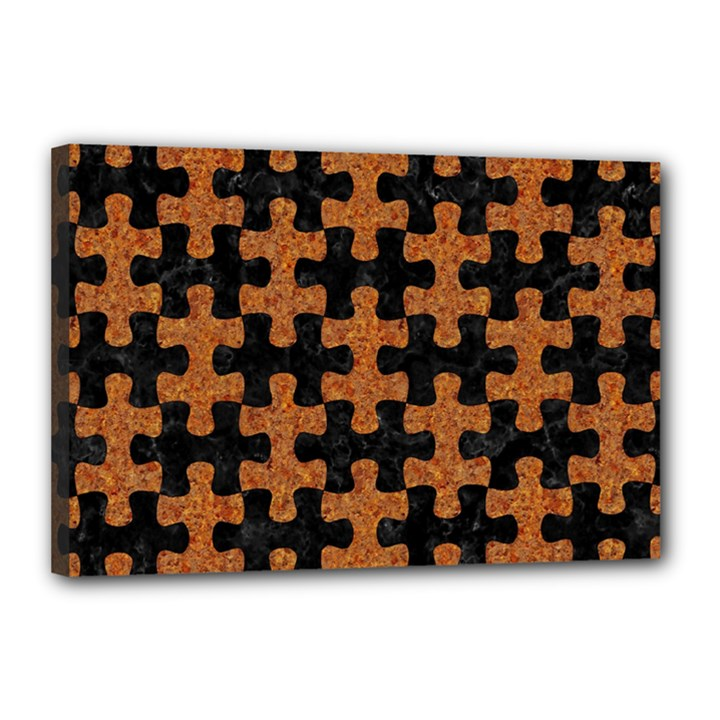PUZZLE1 BLACK MARBLE & RUSTED METAL Canvas 18  x 12