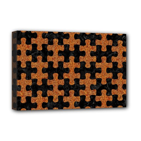 Puzzle1 Black Marble & Rusted Metal Deluxe Canvas 18  X 12