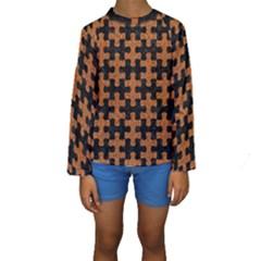 Puzzle1 Black Marble & Rusted Metal Kids  Long Sleeve Swimwear