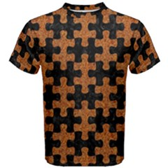 Puzzle1 Black Marble & Rusted Metal Men s Cotton Tee