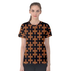Puzzle1 Black Marble & Rusted Metal Women s Cotton Tee