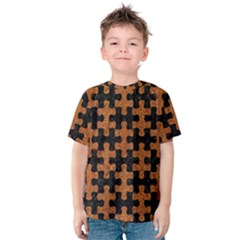 Puzzle1 Black Marble & Rusted Metal Kids  Cotton Tee