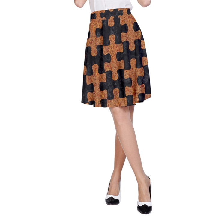 PUZZLE1 BLACK MARBLE & RUSTED METAL A-Line Skirt