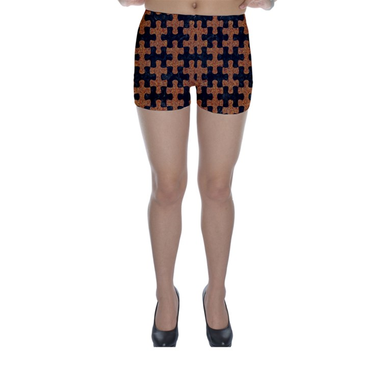 PUZZLE1 BLACK MARBLE & RUSTED METAL Skinny Shorts