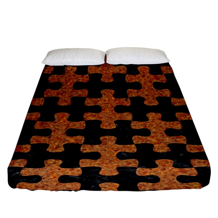 PUZZLE1 BLACK MARBLE & RUSTED METAL Fitted Sheet (King Size)