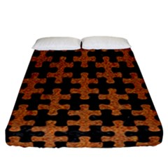Puzzle1 Black Marble & Rusted Metal Fitted Sheet (california King Size)