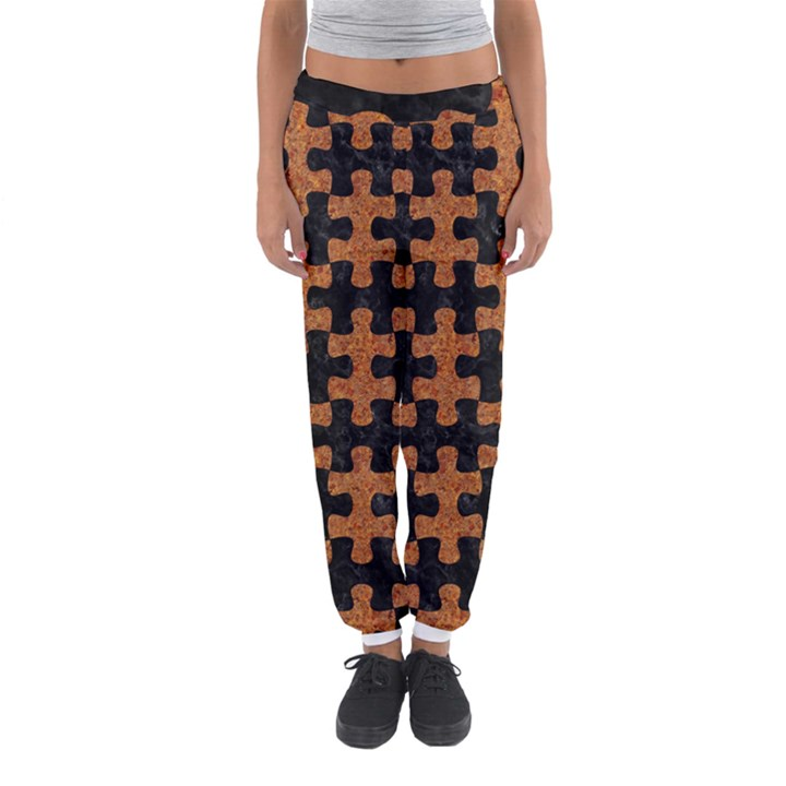 PUZZLE1 BLACK MARBLE & RUSTED METAL Women s Jogger Sweatpants