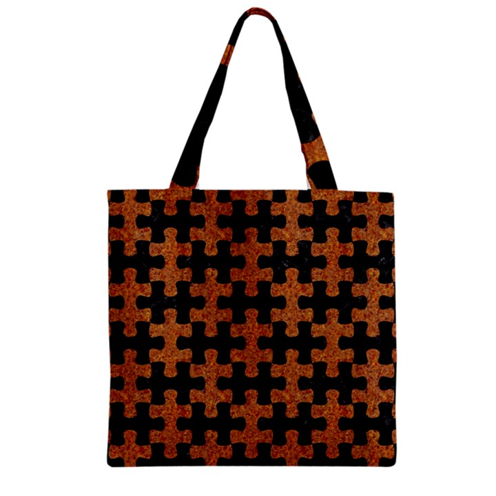 PUZZLE1 BLACK MARBLE & RUSTED METAL Zipper Grocery Tote Bag