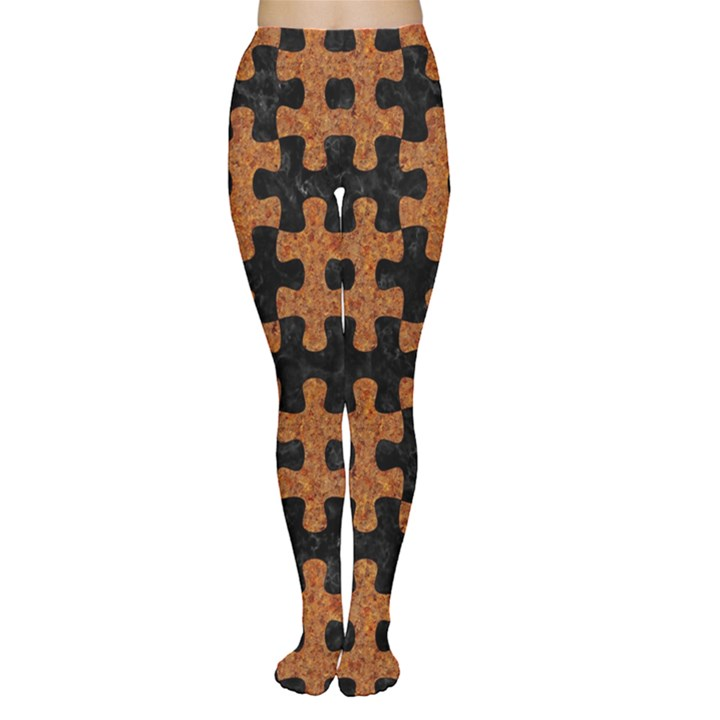 PUZZLE1 BLACK MARBLE & RUSTED METAL Women s Tights