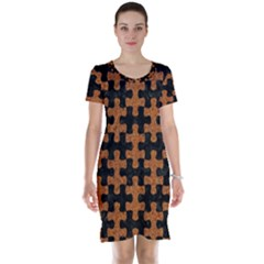 Puzzle1 Black Marble & Rusted Metal Short Sleeve Nightdress