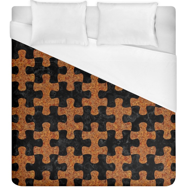 PUZZLE1 BLACK MARBLE & RUSTED METAL Duvet Cover (King Size)