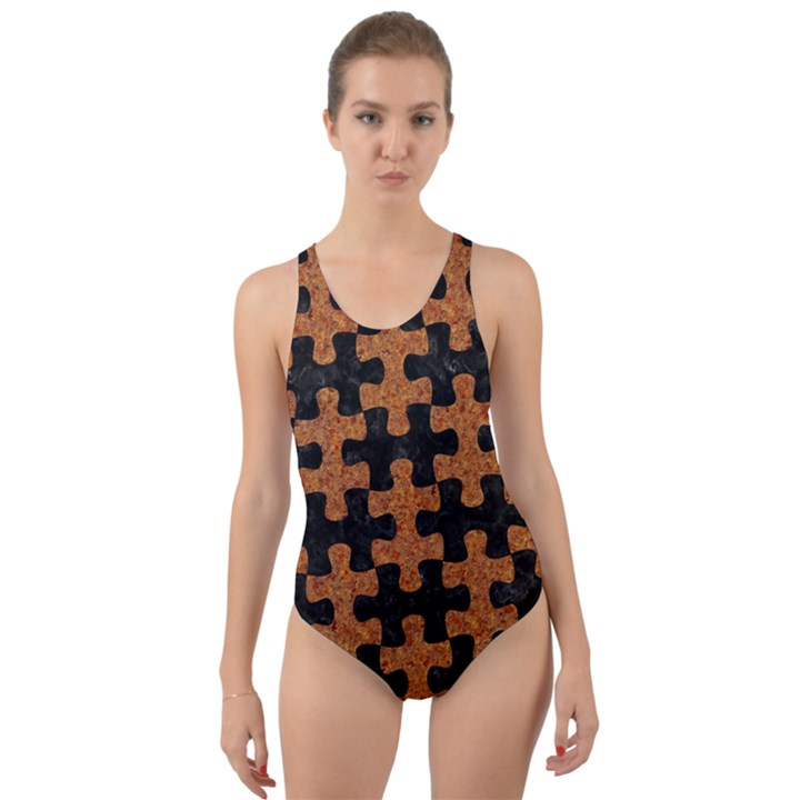 PUZZLE1 BLACK MARBLE & RUSTED METAL Cut-Out Back One Piece Swimsuit