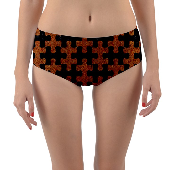 PUZZLE1 BLACK MARBLE & RUSTED METAL Reversible Mid-Waist Bikini Bottoms
