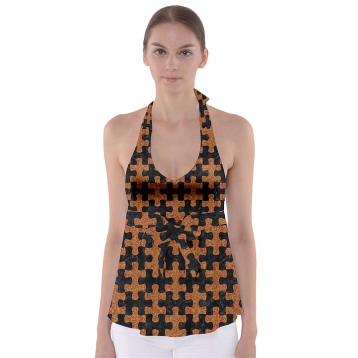PUZZLE1 BLACK MARBLE & RUSTED METAL Babydoll Tankini Top