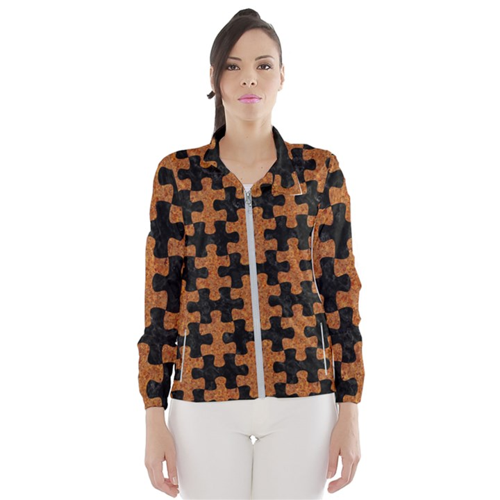 PUZZLE1 BLACK MARBLE & RUSTED METAL Wind Breaker (Women)