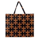 PUZZLE1 BLACK MARBLE & RUSTED METAL Zipper Large Tote Bag View1