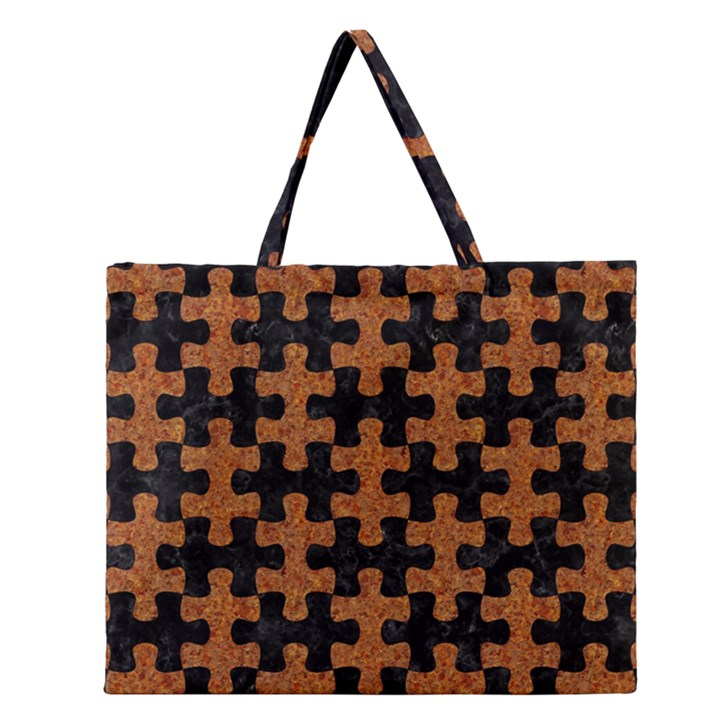 PUZZLE1 BLACK MARBLE & RUSTED METAL Zipper Large Tote Bag