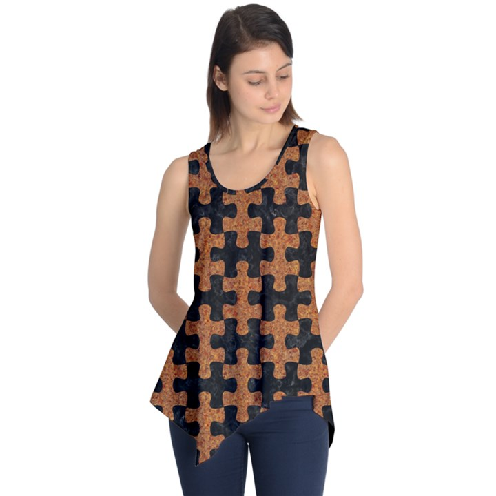 PUZZLE1 BLACK MARBLE & RUSTED METAL Sleeveless Tunic