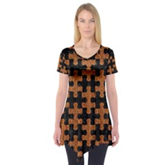 Puzzle1 Black Marble & Rusted Metal Short Sleeve Tunic