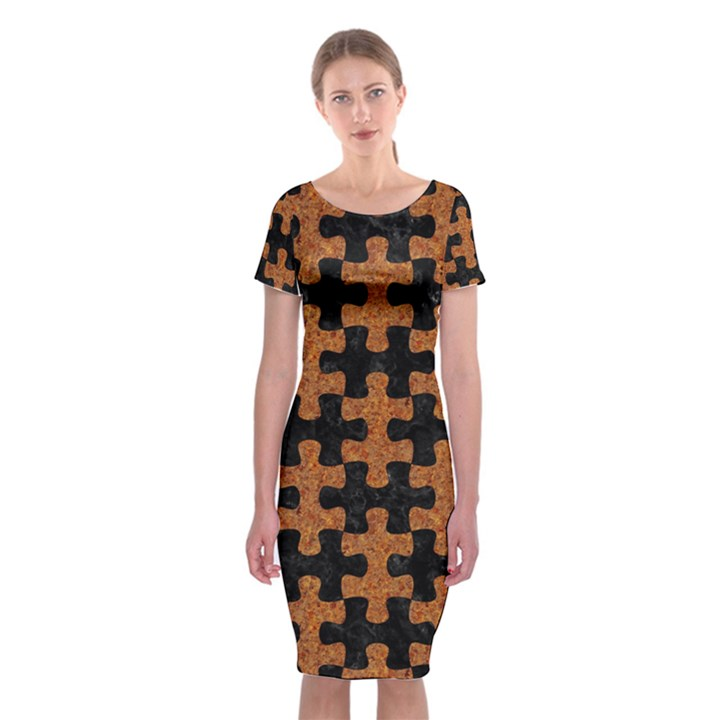 PUZZLE1 BLACK MARBLE & RUSTED METAL Classic Short Sleeve Midi Dress
