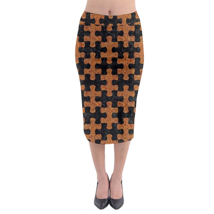 PUZZLE1 BLACK MARBLE & RUSTED METAL Midi Pencil Skirt