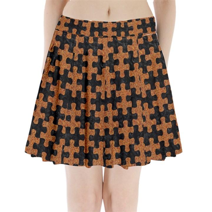 PUZZLE1 BLACK MARBLE & RUSTED METAL Pleated Mini Skirt