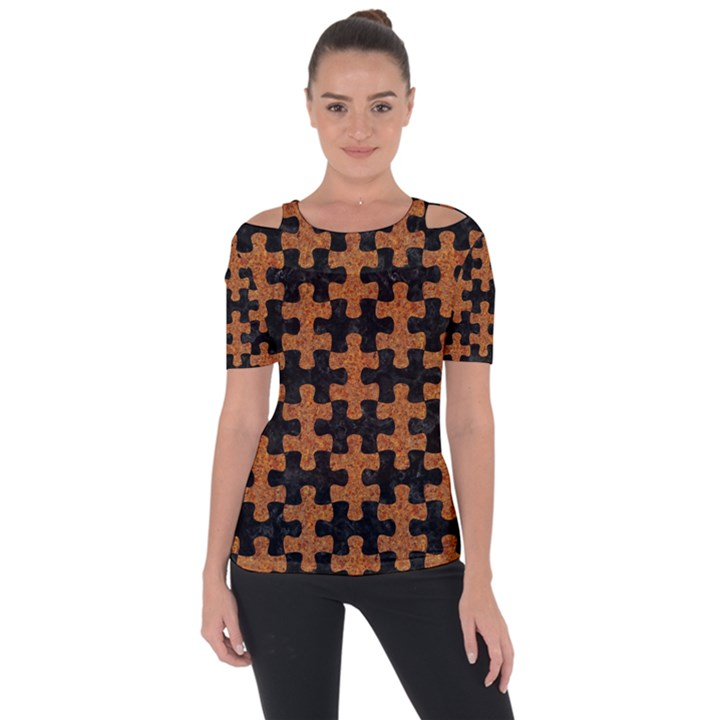 PUZZLE1 BLACK MARBLE & RUSTED METAL Short Sleeve Top